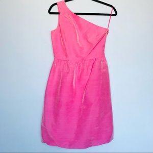 J Crew Pink Irredentist One Shoulder Y2K Dress